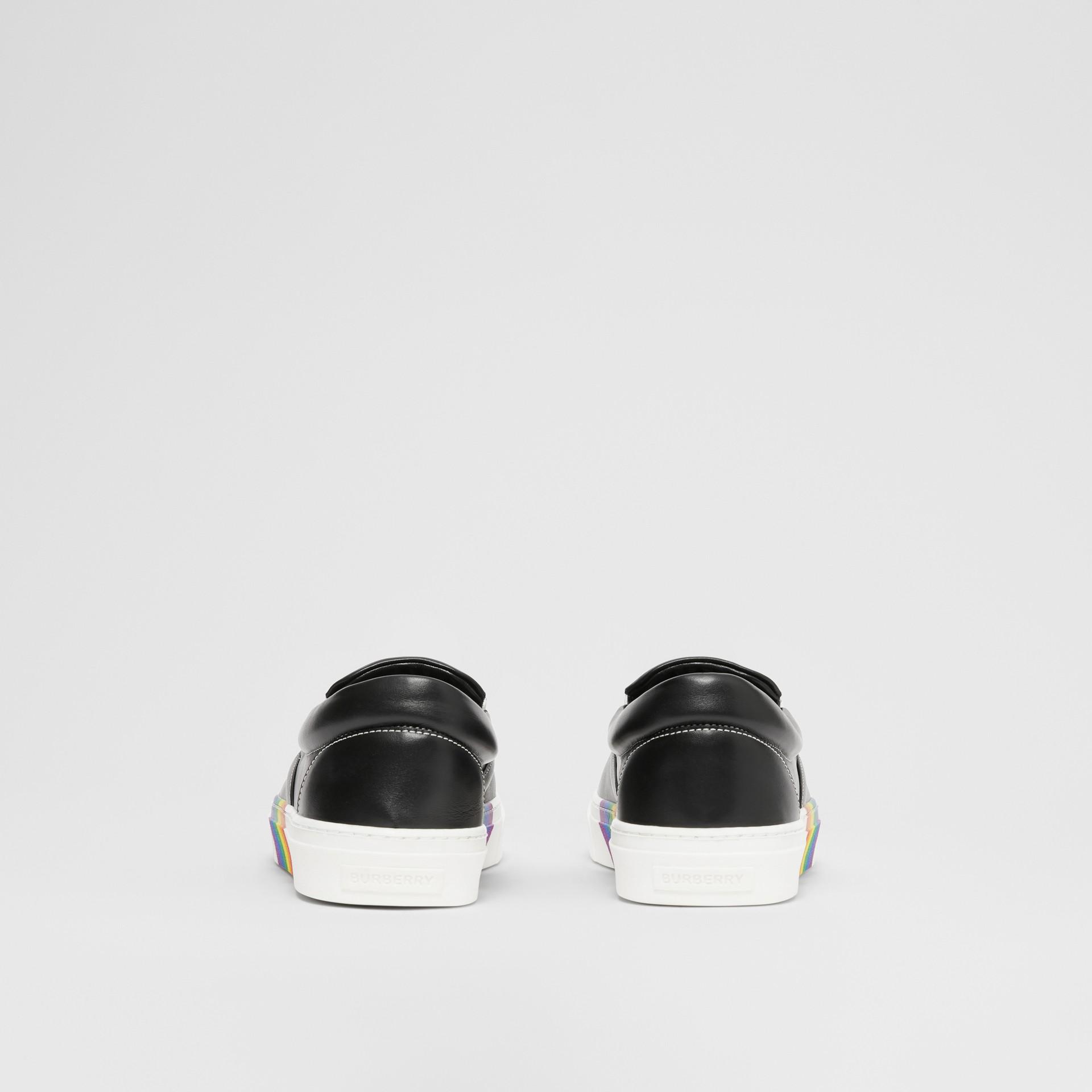 Rainbow Print Leather Slip-on Sneakers in Black - Women   Burberry United Kingdom - gallery image 4