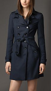 Trench coat in seta e lana