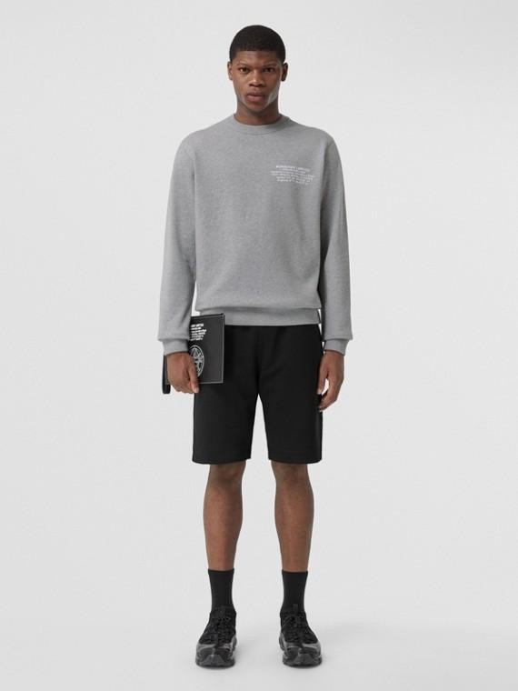 Location Print Cotton Sweatshirt in Pale Grey Melange