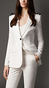 Leather Detail Long Tailored Jacket