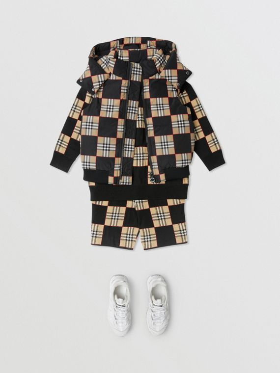 Chequer Print Puffer Gilet in Archive Beige