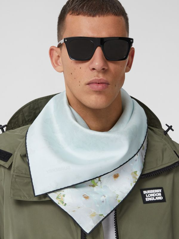Meadow Print Silk Square Scarf in White | Burberry - cell image 3