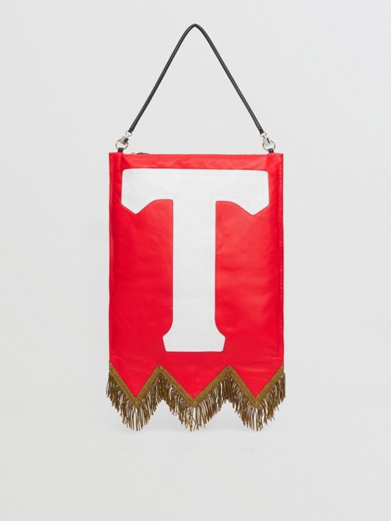 Letter Motif Lambskin Flag Bag in Bright Red