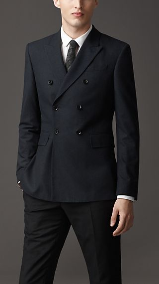 Modern Fit Double-Breasted Silk Jacket