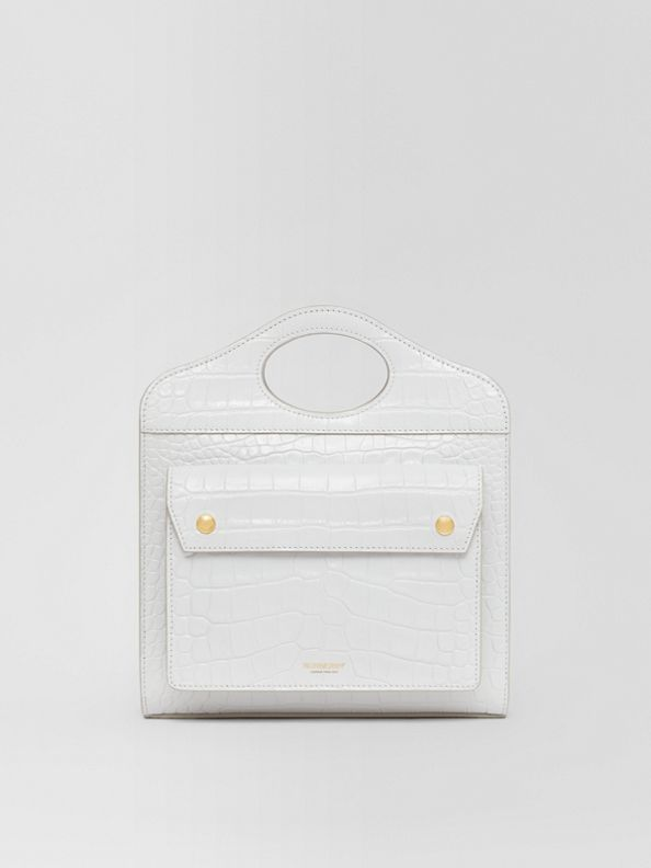 Mini sac Pocket en cuir embossé (Gris Galet Clair)