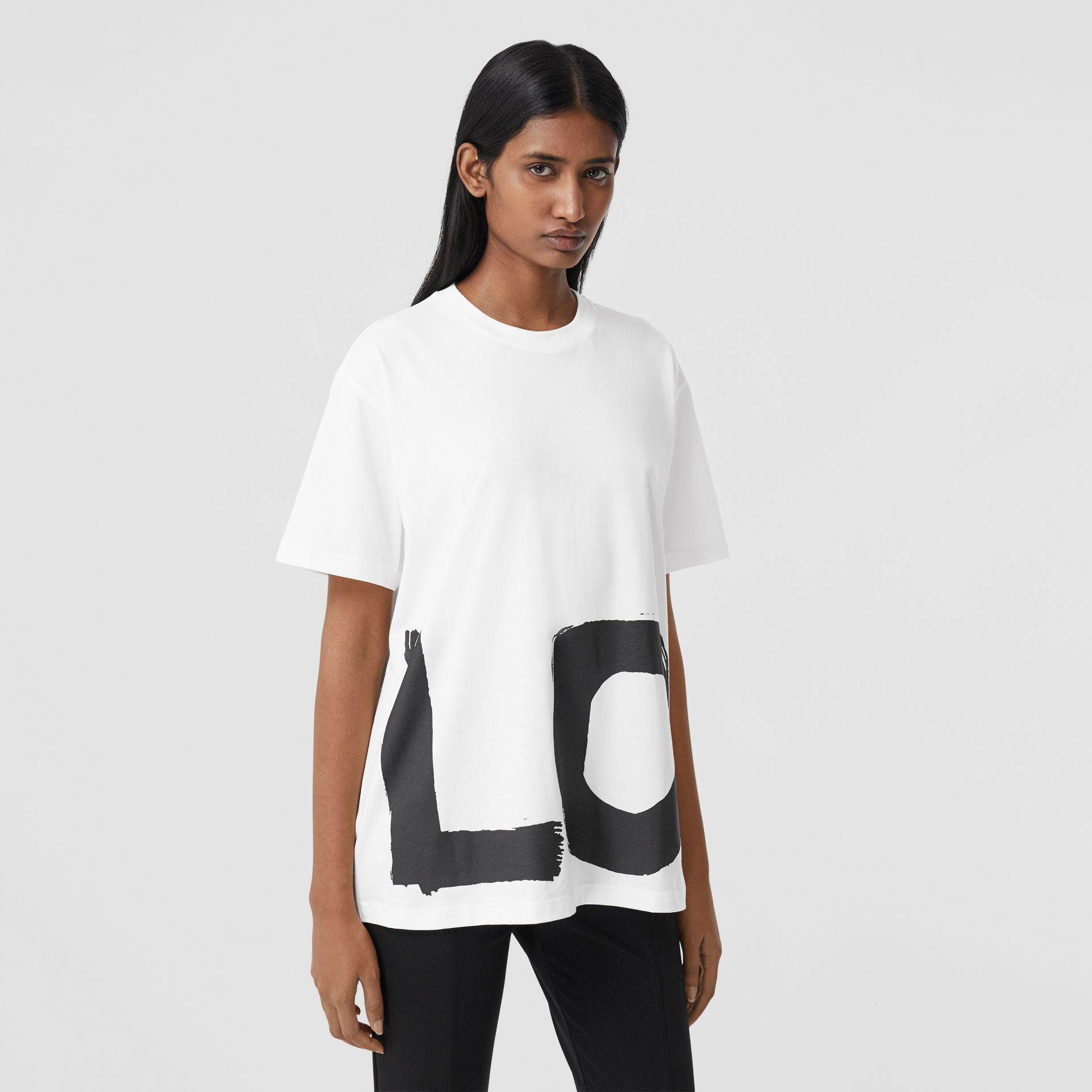 Love Print Cotton Oversized T-shirt in White - Women | Burberry - gallery image 5