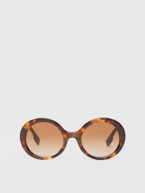 Oversized Round Frame Sunglasses in Dark Tortoise Amber