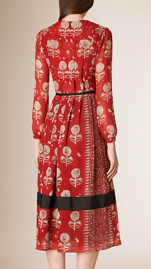 Military red Floral Print Silk A-line Dress - Image 2
