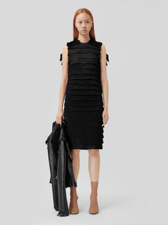 Fringed Silk Sleeveless Dress in Black