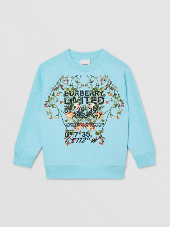 Montage Print Cotton Sweatshirt in Pale Turquoise