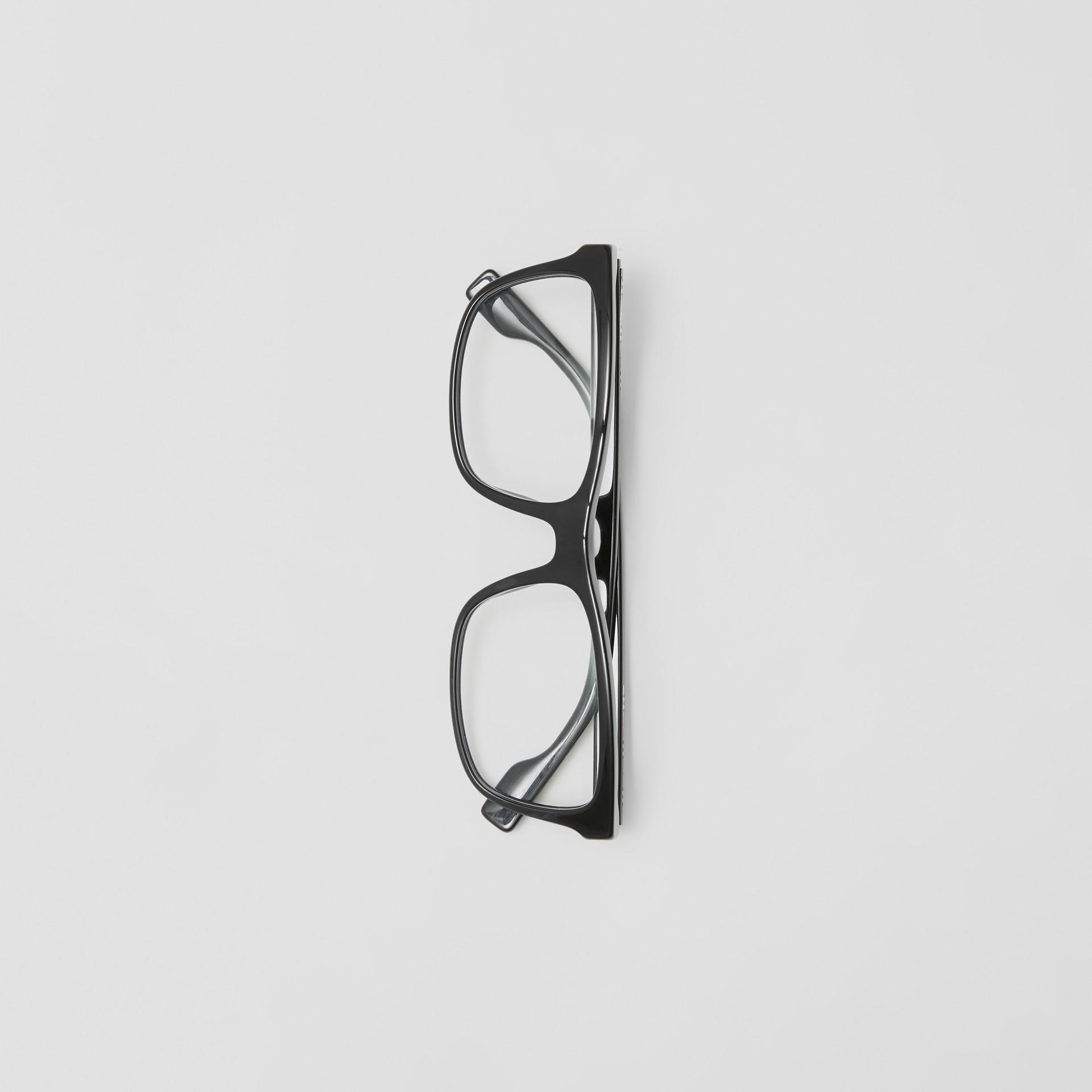 Montatura da vista rettangolare con iconico motivo a righe (Nero) - Uomo | Burberry - immagine della galleria 3