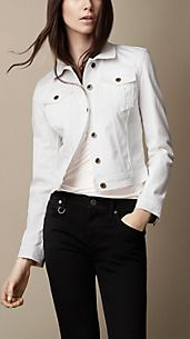 Optical White Cropped Denim Jacket