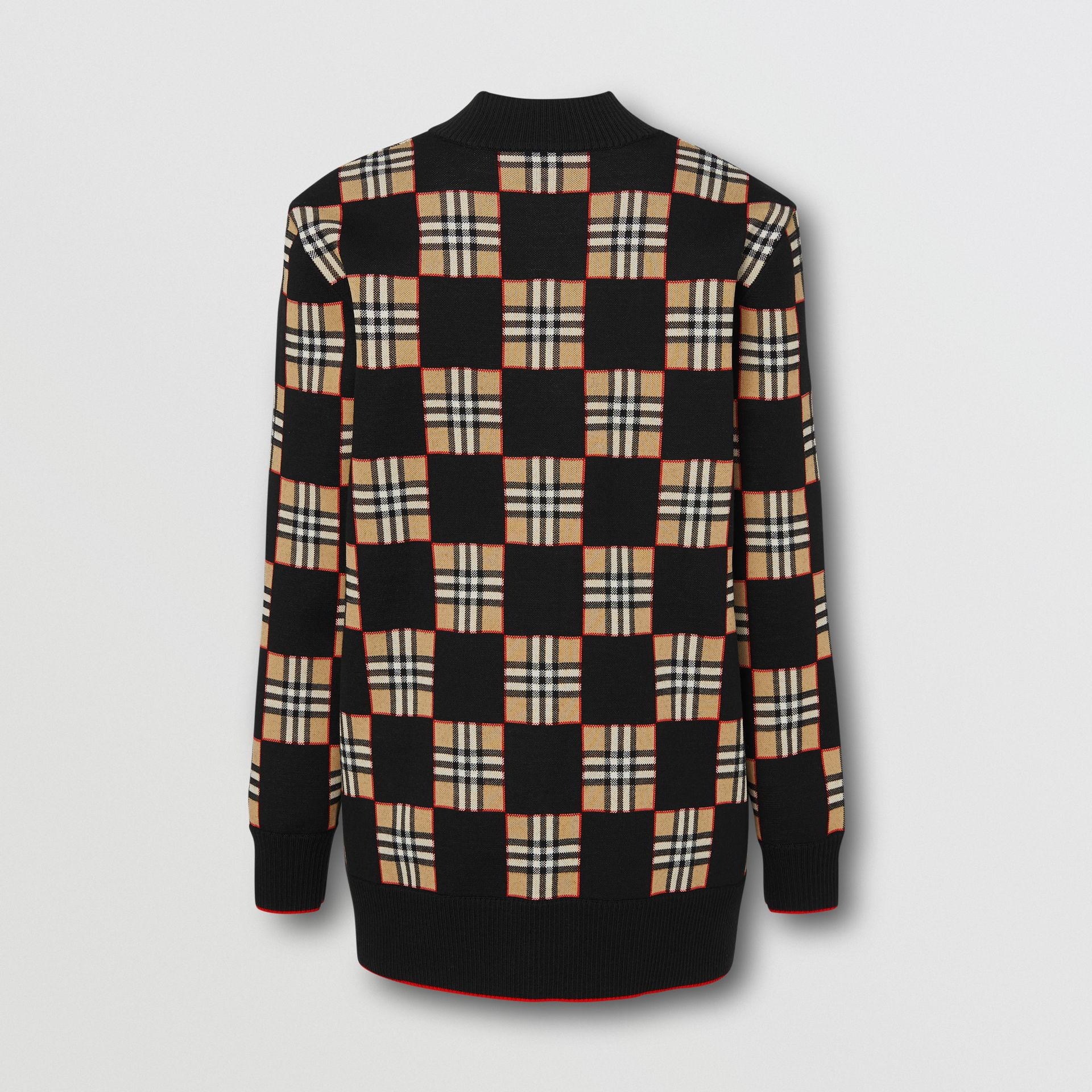 Chequer Merino Wool Blend Oversized Cardigan in Black/archive Beige - Women | Burberry United Kingdom - gallery image 1