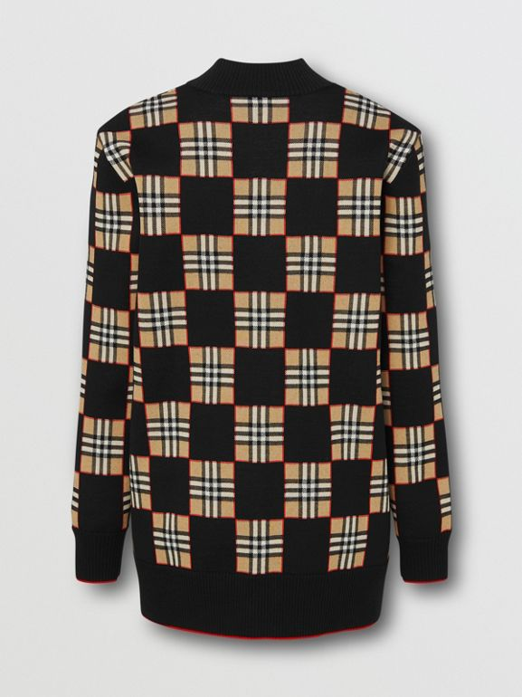 Chequer Merino Wool Blend Oversized Cardigan in Black/archive Beige - Women | Burberry United Kingdom - cell image 1