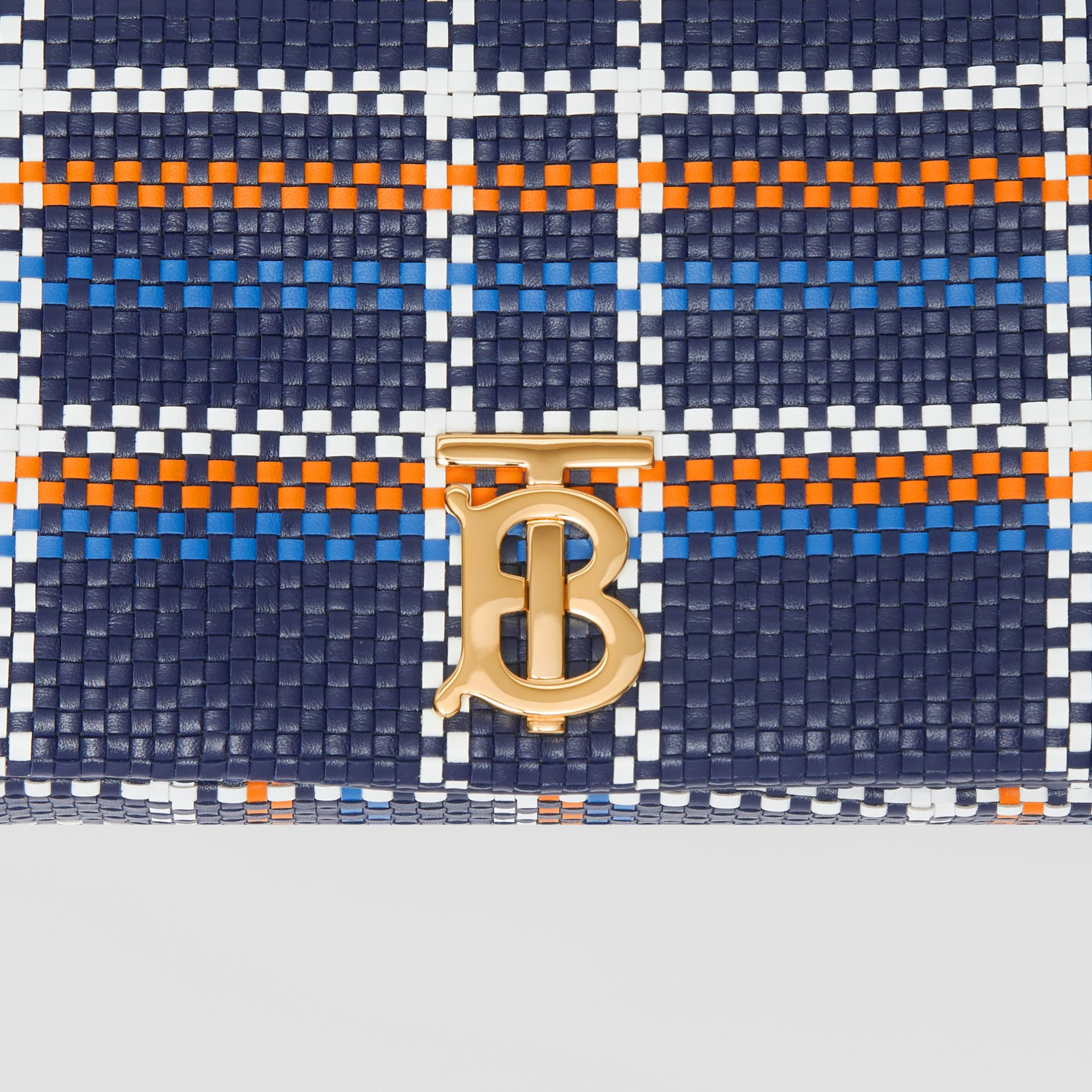 Small Latticed Leather Lola Bag in Blue/white/orange - Women | Burberry Canada - gallery image 5