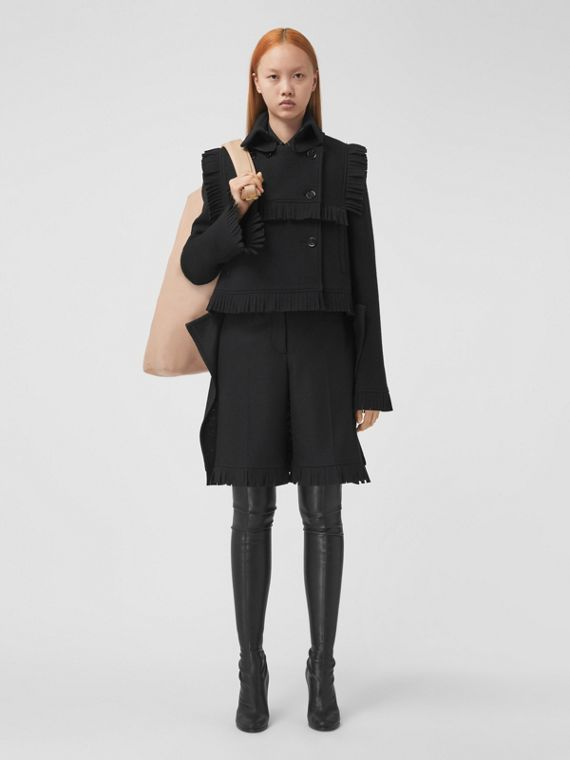 Fringed Cashmere Wool Blend Cropped Trench Coat in Black