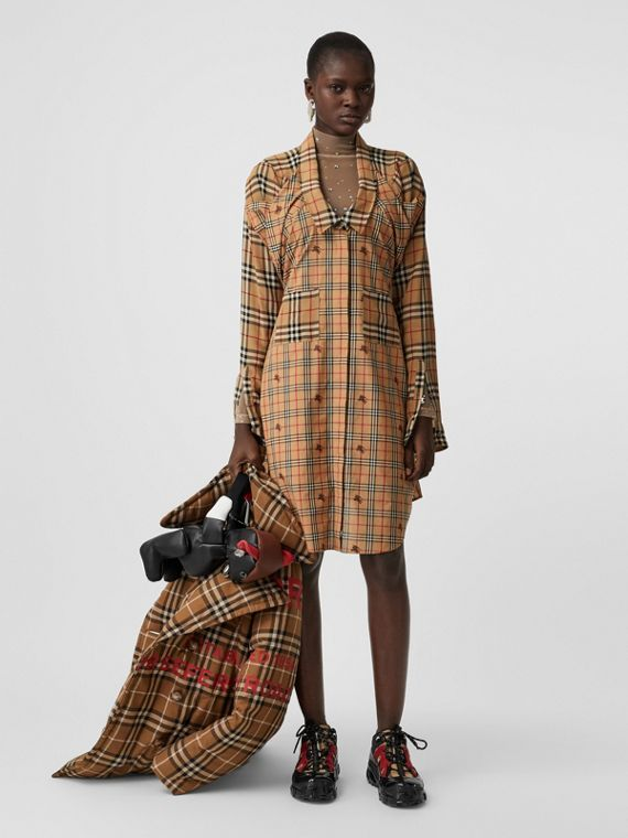 Vintage Check Silk and Cotton Shirt Dress in Archive Beige