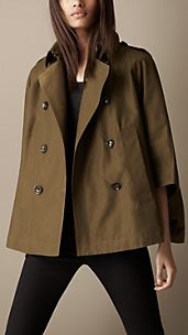 Short Swing Cape Trench Coat