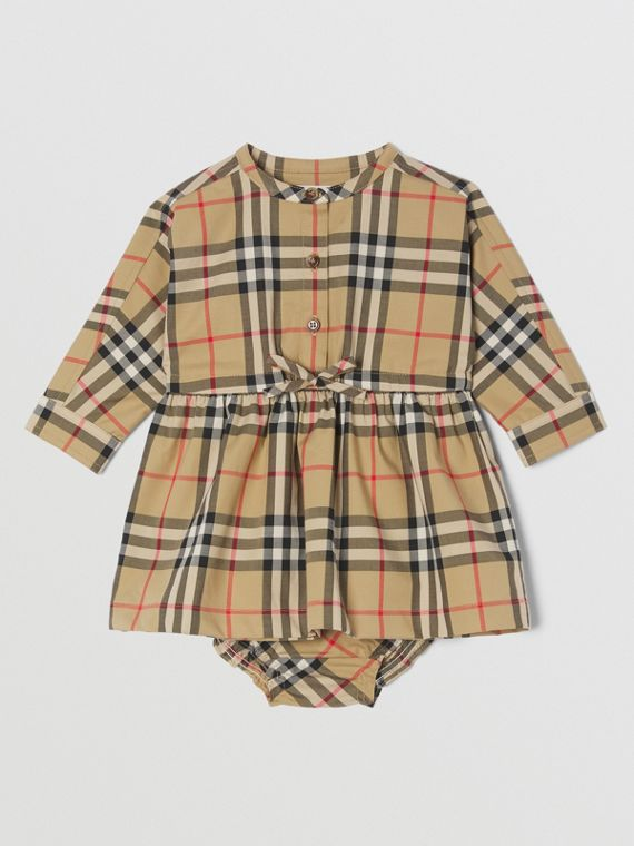 Robe et bloomer en coton stretch Vintage check (Beige D'archive)