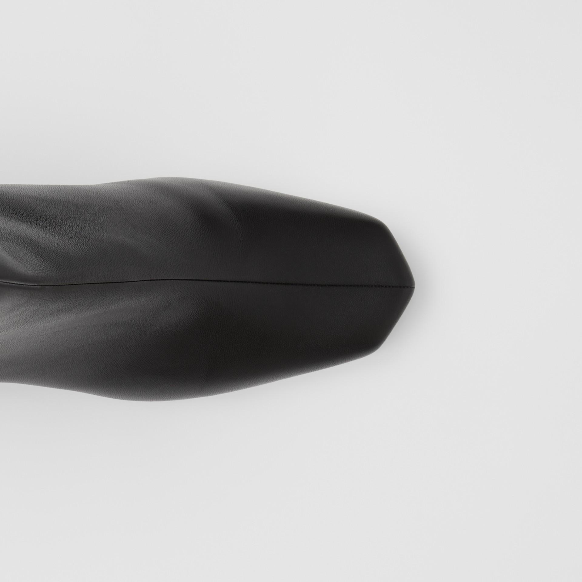 Lambskin Sculptural Kitten-heel Ankle Boots in Black - Women | Burberry - gallery image 1