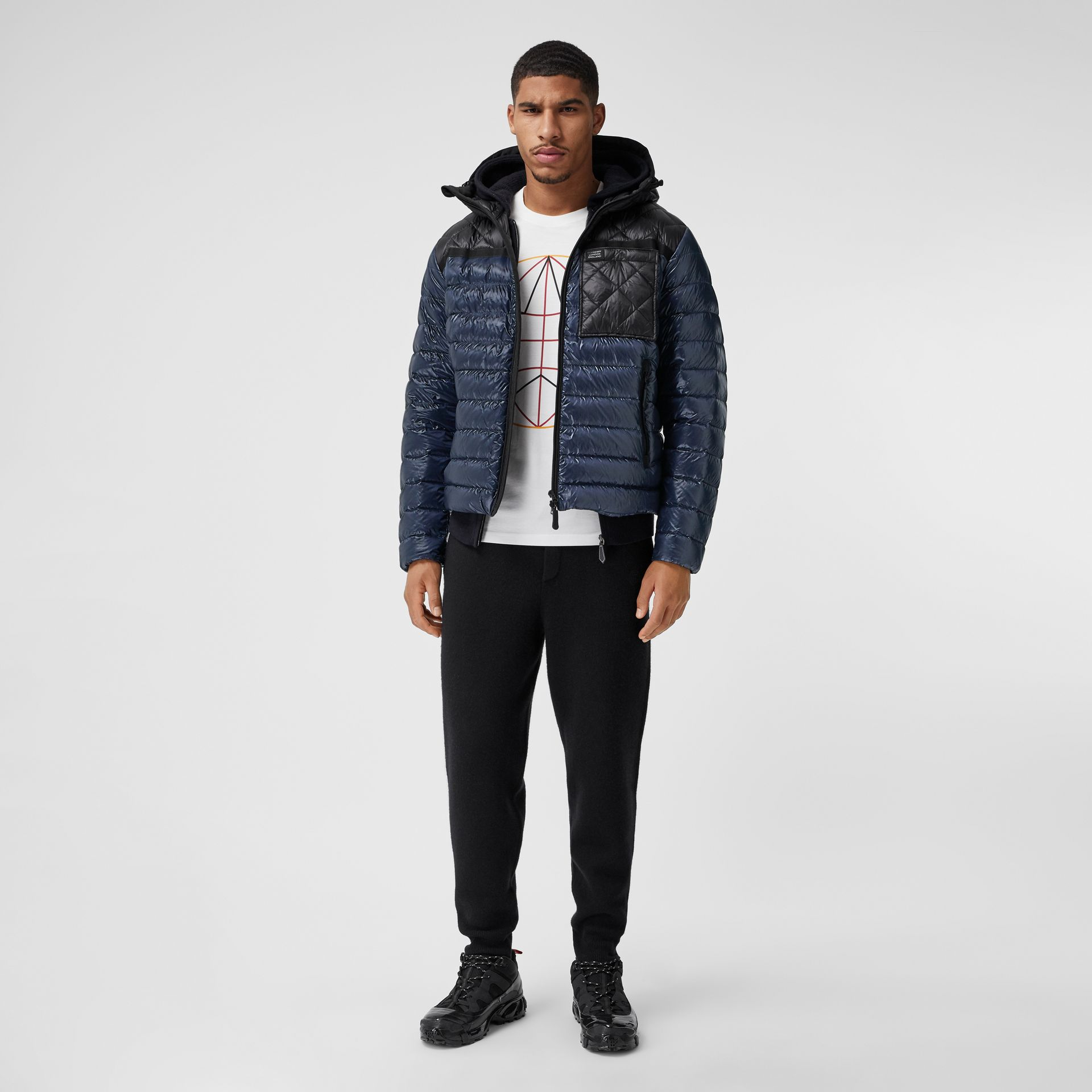 Diamond Quilted Panel Hooded Puffer Jacket in Midnight - Men | Burberry - gallery image 0
