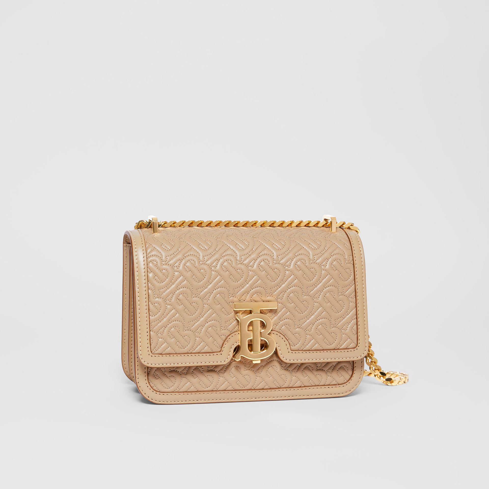 Small Quilted Monogram Lambskin TB Bag in Honey - Women | Burberry - gallery image 6