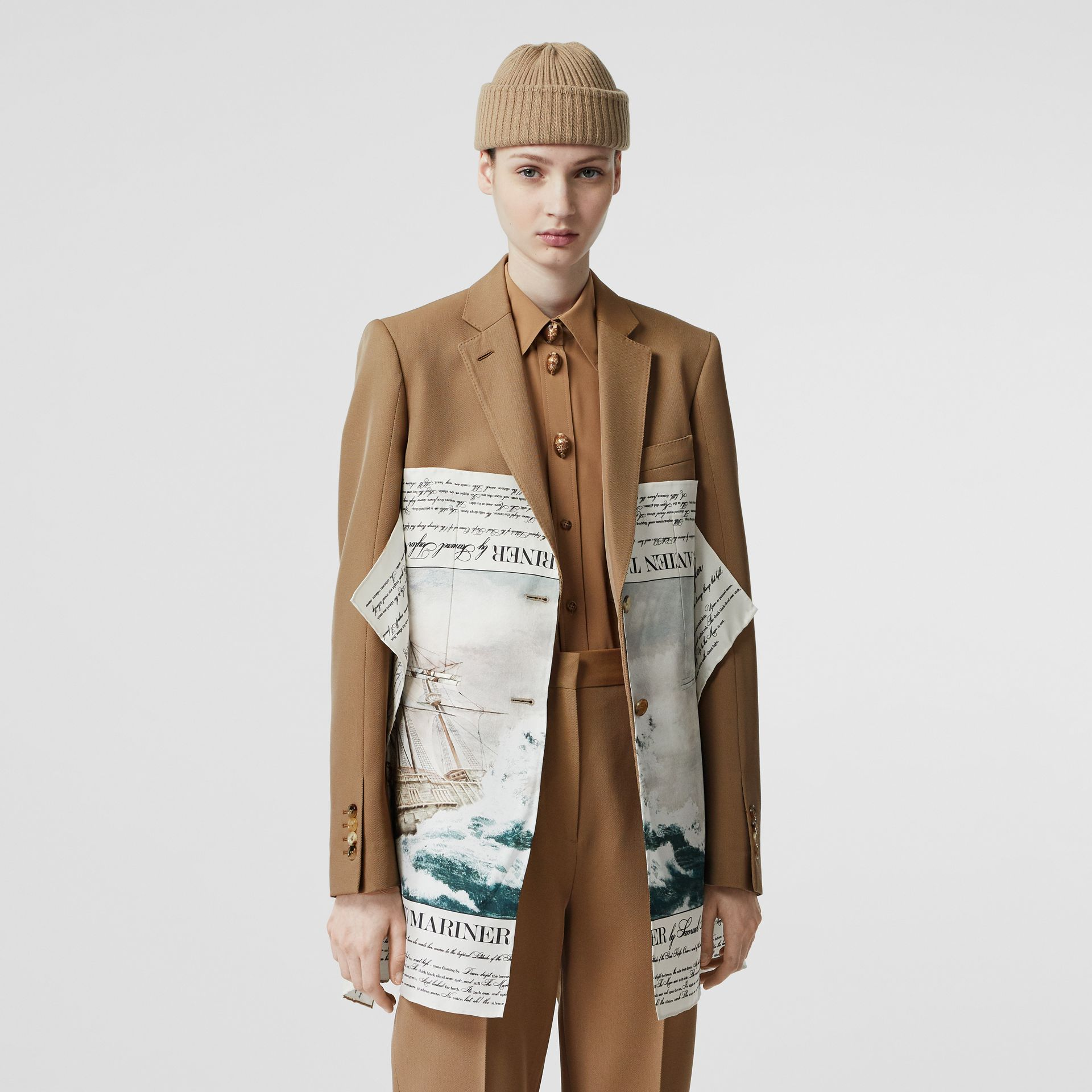 Mariner Print Scarf Detail Wool Blend Tailored Jacket in Camel - Women | Burberry - gallery image 0