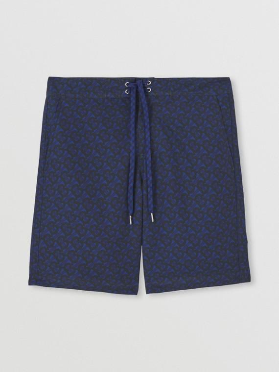 Monogram Print Swim Shorts in Deep Royal Blue