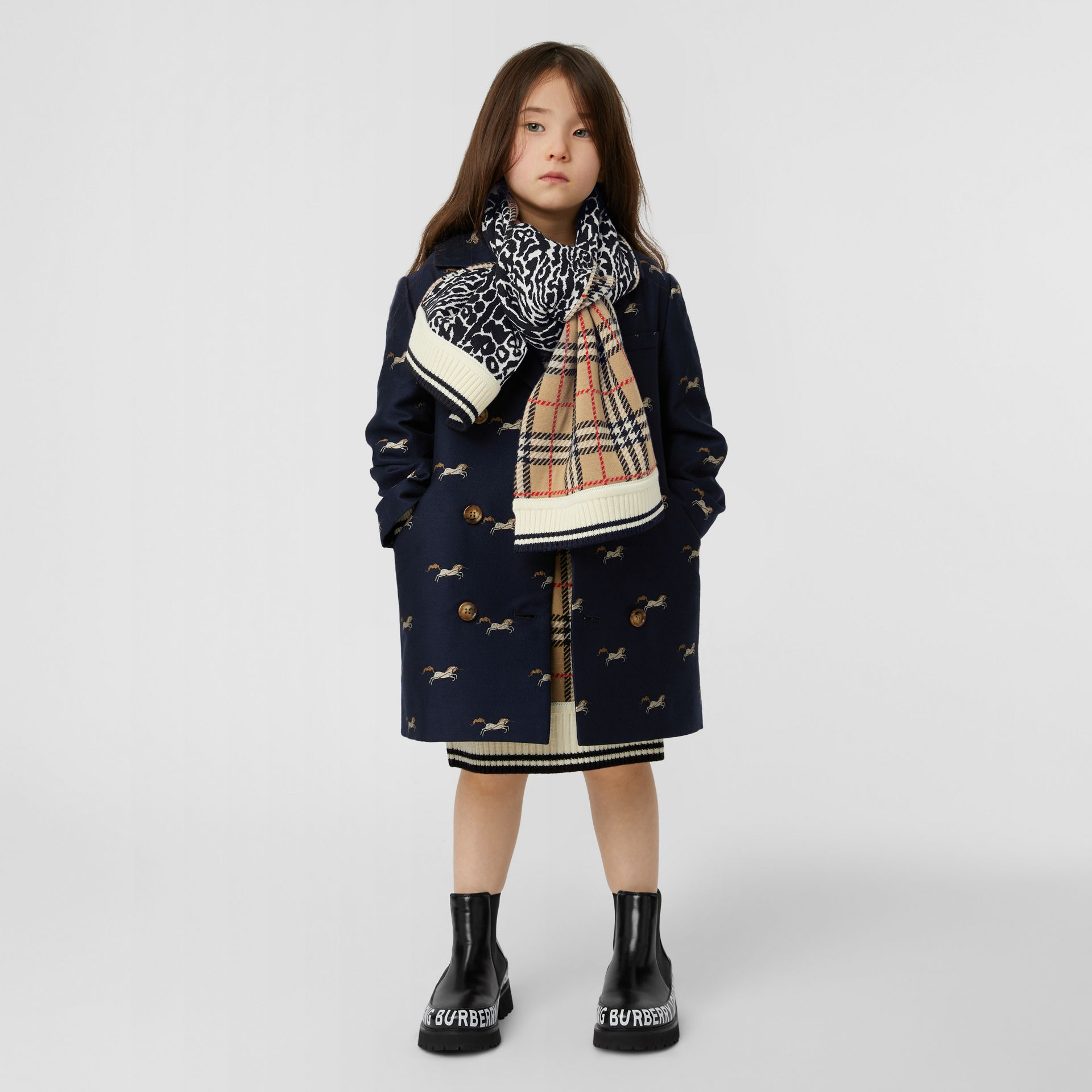 Check and Leopard Merino Wool Jacquard Scarf in Print - Children | Burberry United States - gallery image 2