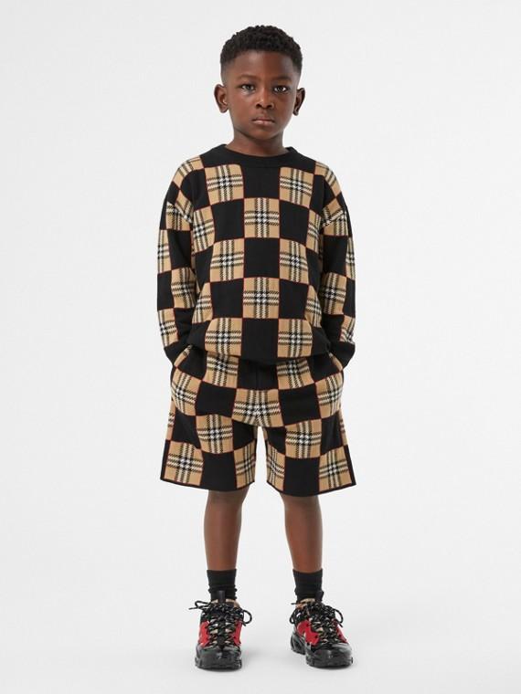 Suéter de lã merino com xadrez em jacquard (Bege Clássico)