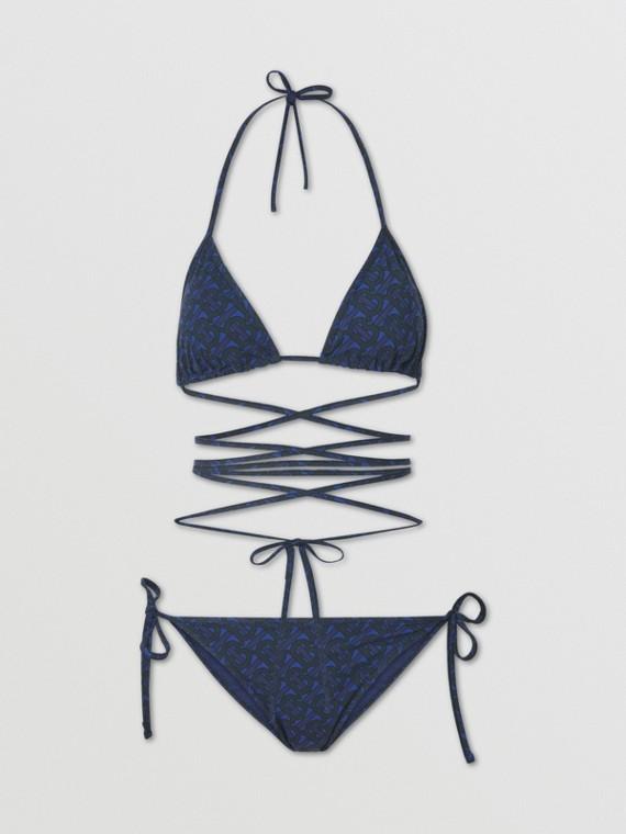 Bikini a triangolo con stampa monogramma (Blu Reale Scuro)