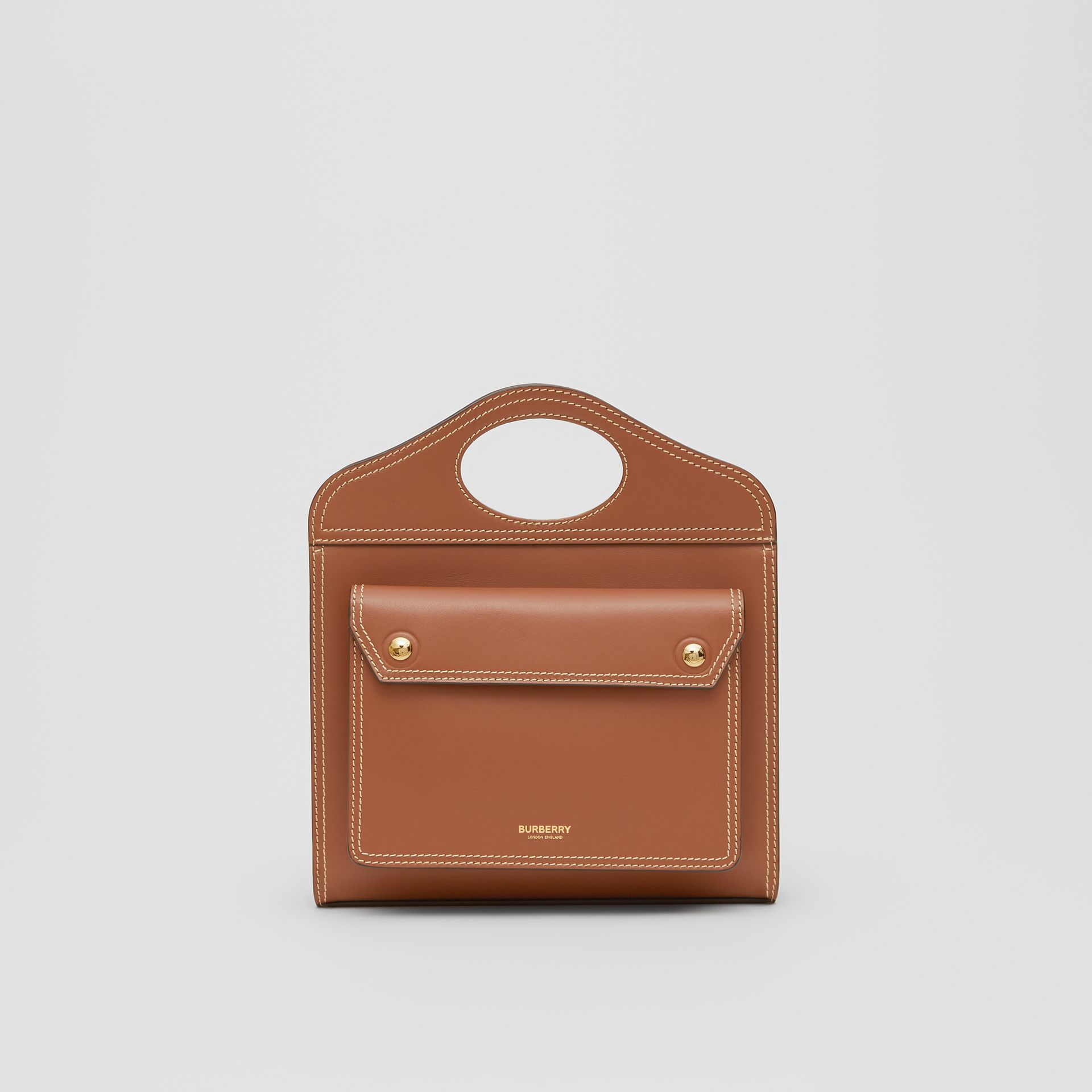 Mini Topstitched Leather Pocket Bag in Malt Brown - Women | Burberry United States - gallery image 0