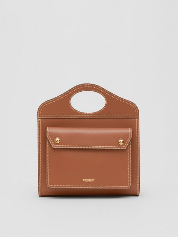 Mini sac Pocket en cuir surpiqué (Brun Malt)