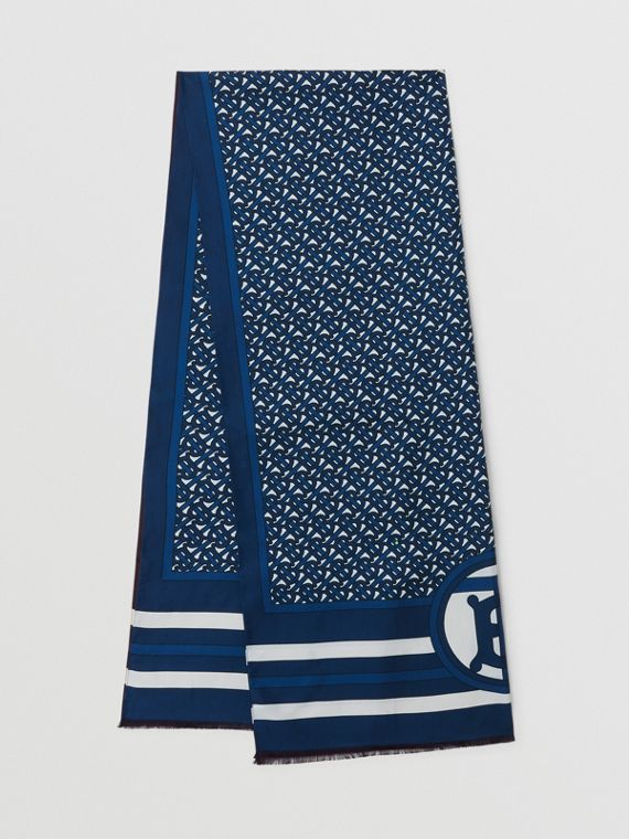 Echarpe dupla face de seda com estampa de monograma (Azul Cerúleo)