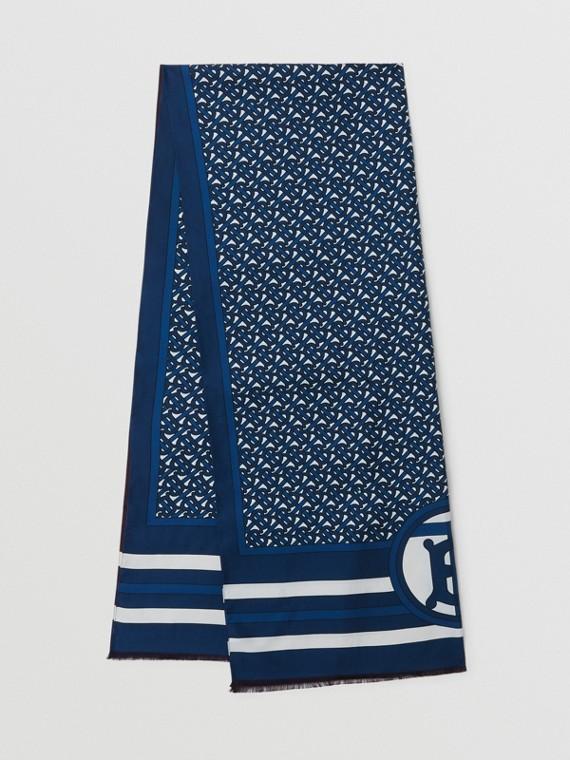 Foulard réversible en soie Monogram (Bleu Azur)
