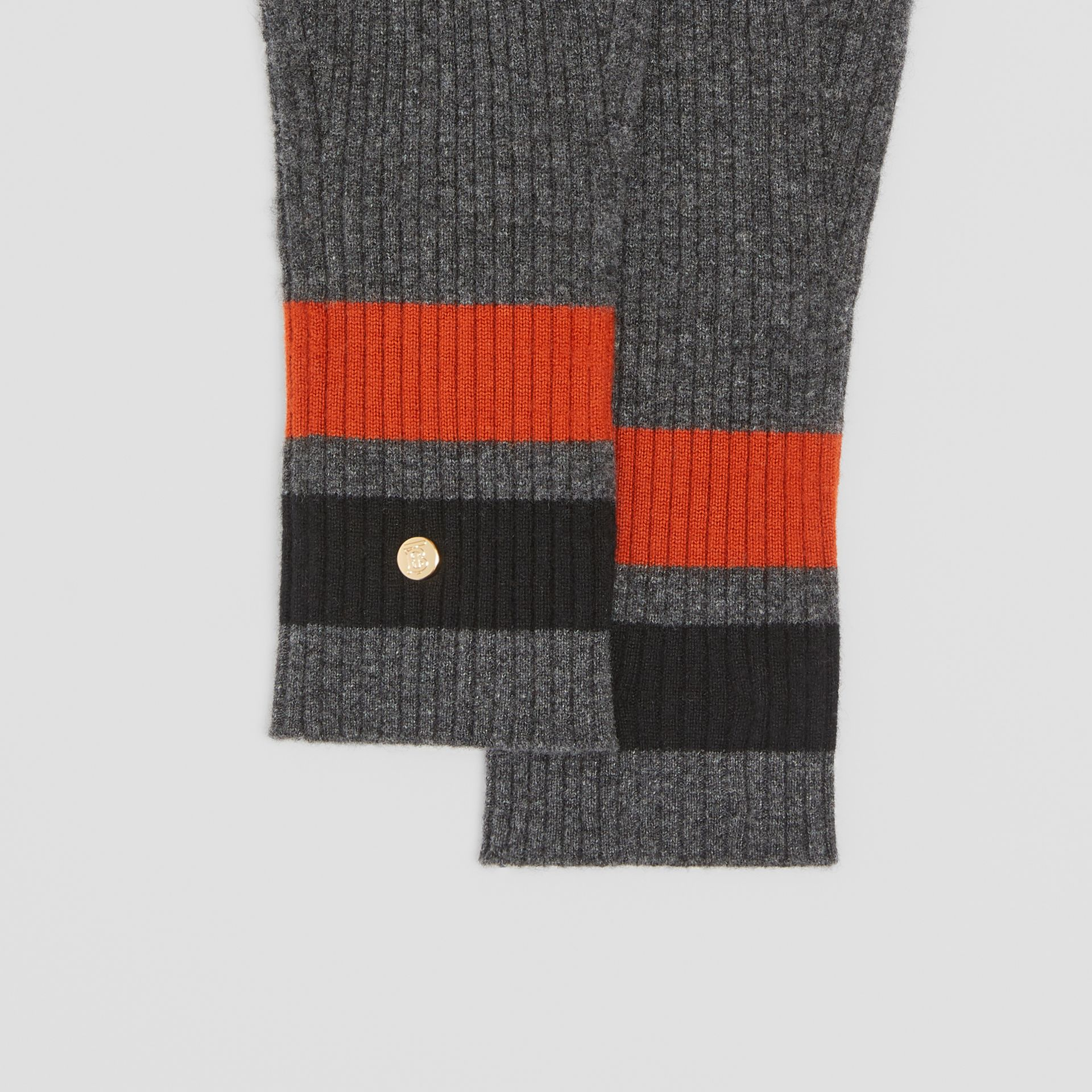 Monogram Motif Merino Wool Cashmere Gloves in Dark Grey | Burberry - gallery image 1