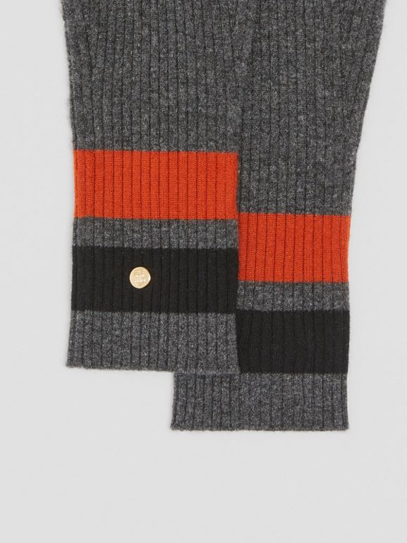 Monogram Motif Merino Wool Cashmere Gloves in Dark Grey | Burberry - cell image 1