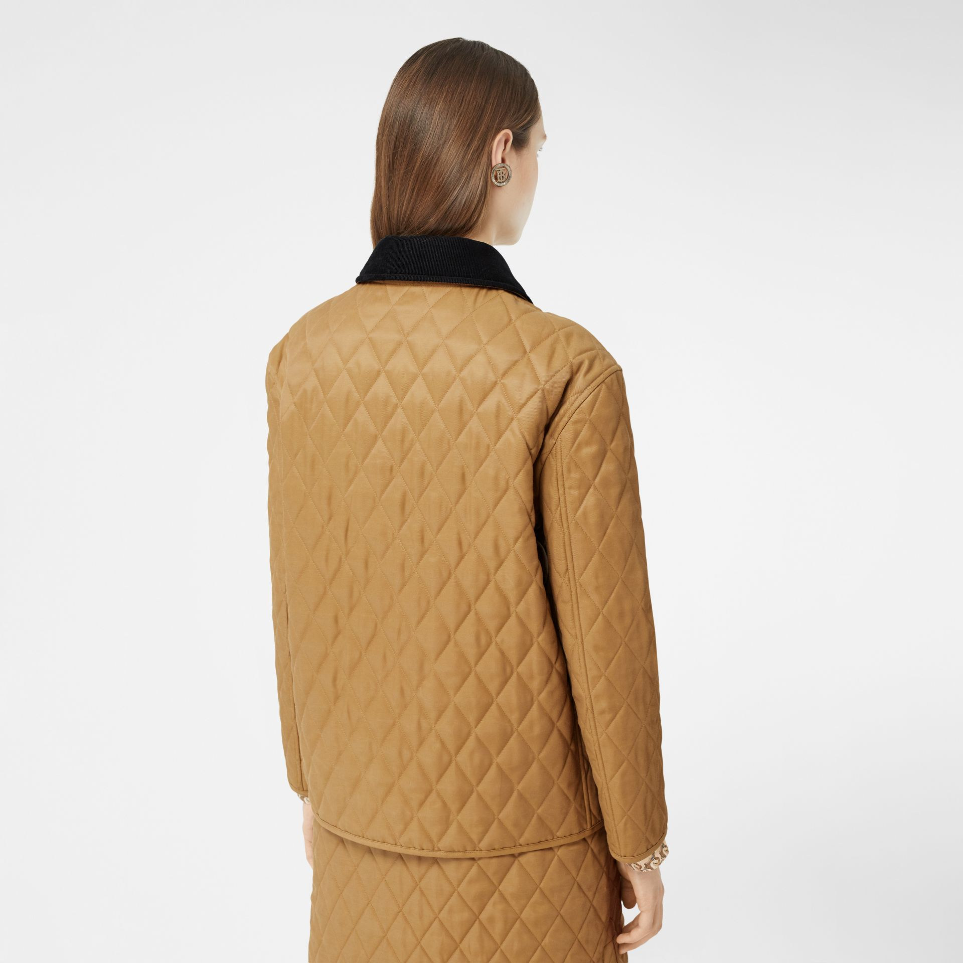 Corduroy Collar Diamond Quilted Jacket in Camel - Women | Burberry - gallery image 2