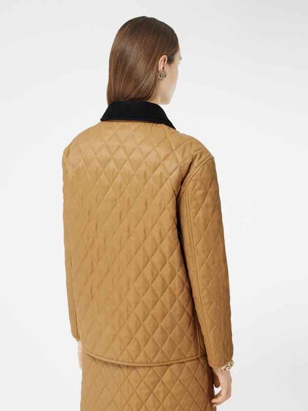 Corduroy Collar Diamond Quilted Jacket in Camel - Women | Burberry - cell image 2