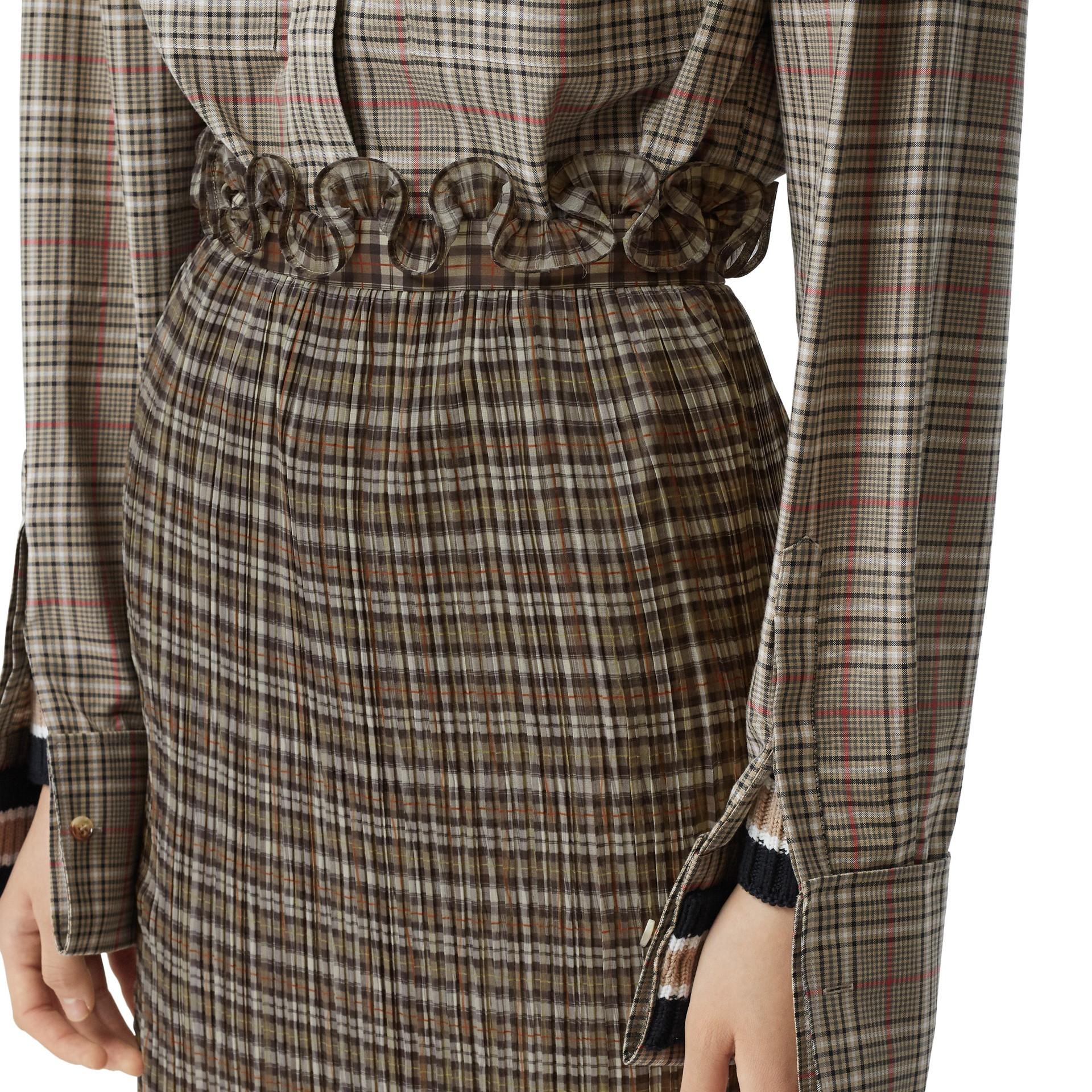 Custom Fit Ruffle Detail Check Chiffon Plissé Skirt in Mahogany - Women | Burberry - gallery image 5