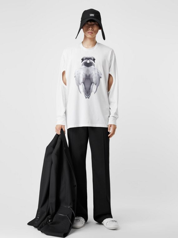 Cut-out Sleeve Swan Print Cotton Oversized Top in Optic White