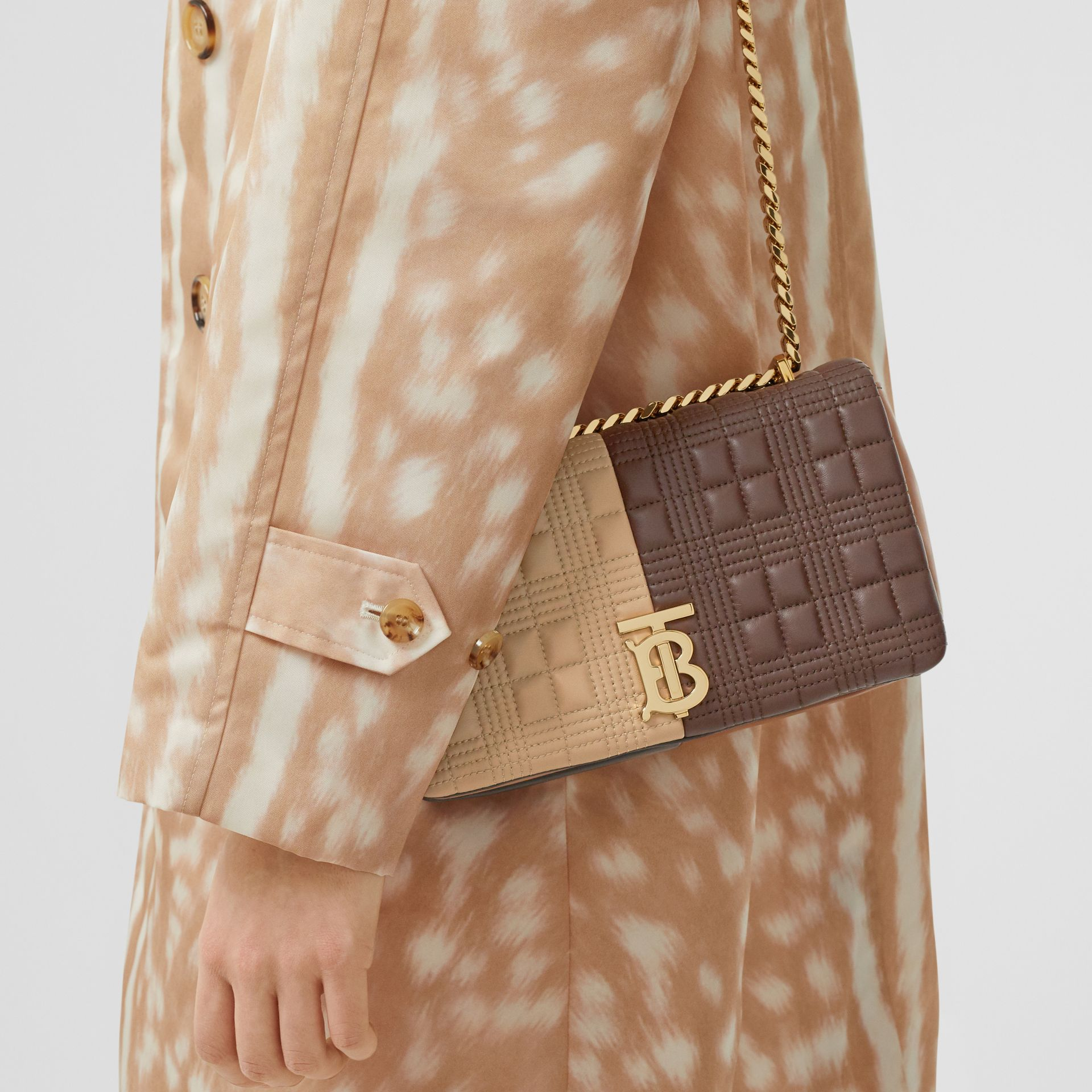 Small Quilted Colour Block Lambskin Lola Bag in Soft Fawn/dark Mocha - Women | Burberry - gallery image 2