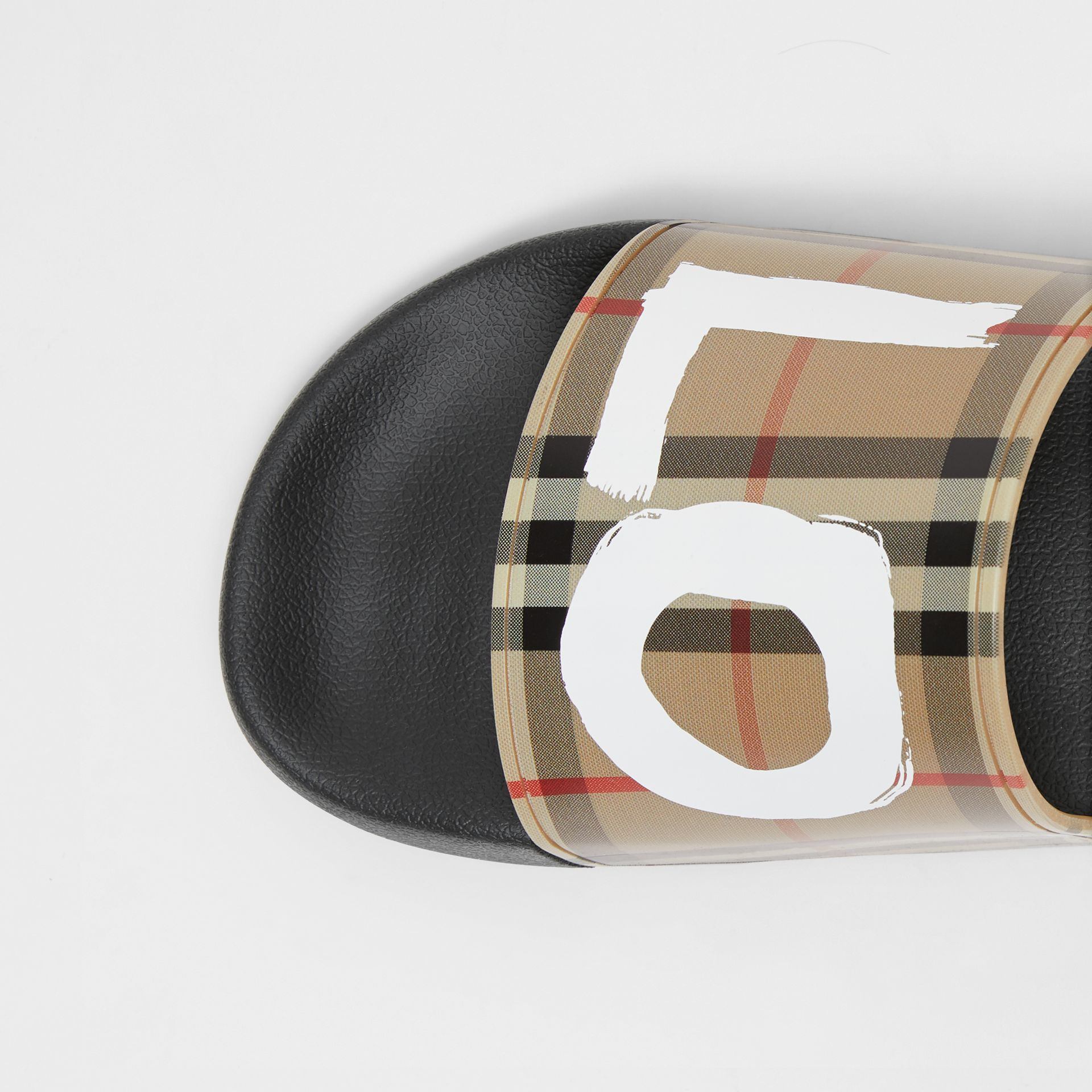 Love Print Vintage Check Slides in Archive Beige - Men | Burberry - gallery image 1