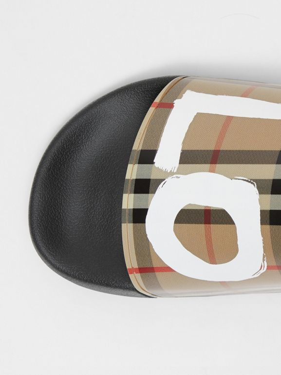 Love Print Vintage Check Slides in Archive Beige - Men | Burberry - cell image 1