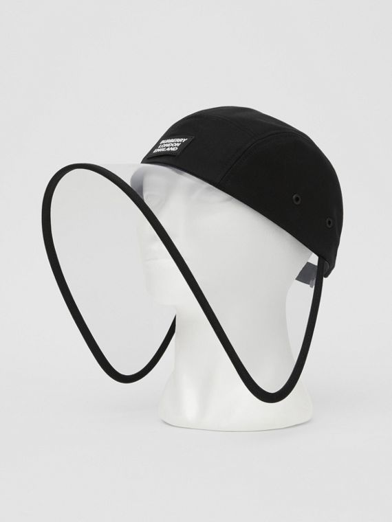 Transparent Detail Cotton Twill Bonnet Cap in Black