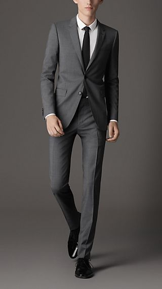 Slim Fit Virgin Wool Pinstripe Suit