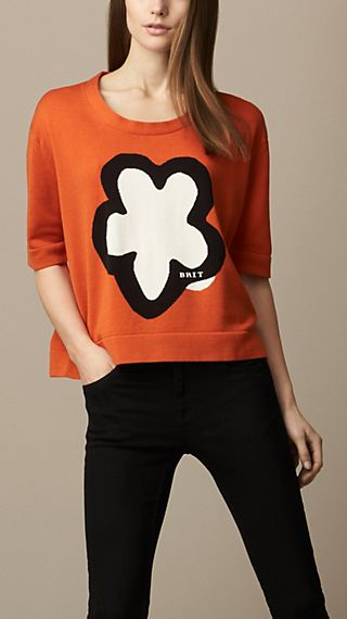 Graphic Flower Silk Blend Sweater