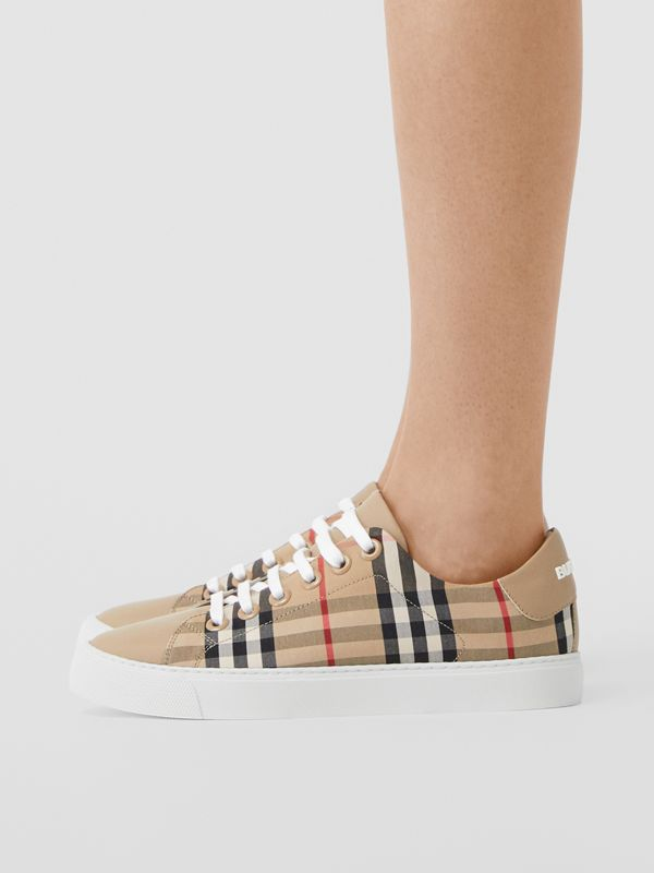 Vintage Check and Leather Sneakers in Archive Beige - Women | Burberry United Kingdom - cell image 2