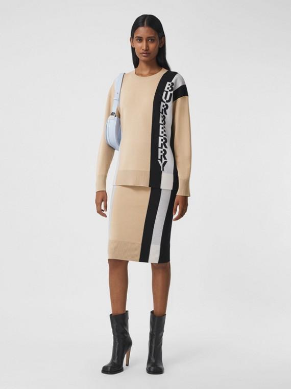Logo Merino Wool Blend Jacquard Sweater in Soft Fawn