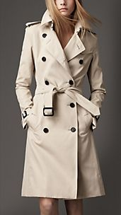 Long Cotton Gabardine Trench Coat